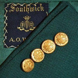 44L Southwick Green Hopsak GOLD BUTTON Sport Coat